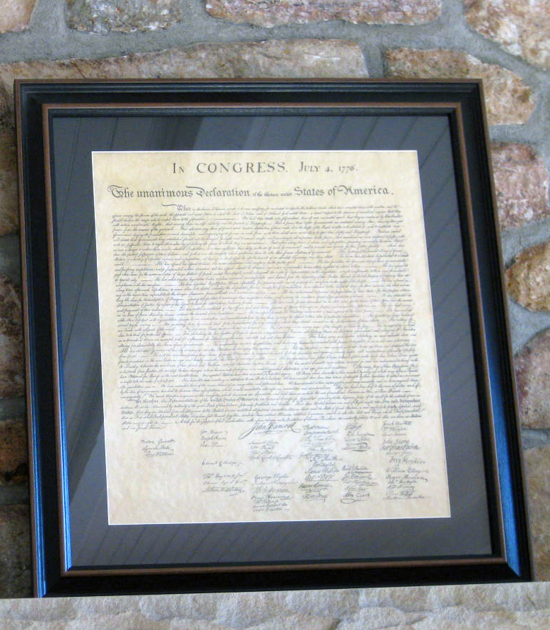 Old Fashioned Declaration Of Independence Picture Frame Image ...